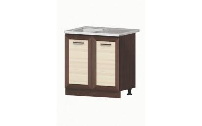 Долен модул В3 + Бордова мивка - 80 cm - Кухня Бавария пясъчен дъб и венге