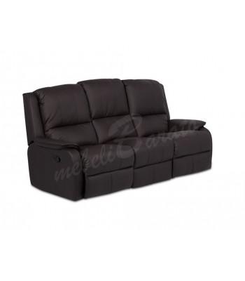 Кожен диван - тройка с релакс механизъм MAYA - кестен - Дивани и канапета