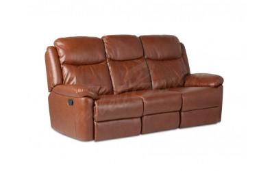 Кожен диван - тройка с релакс механизъм REYA - кафяво - Дивани и канапета