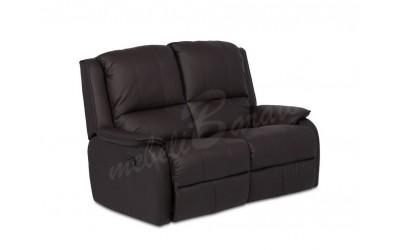 Кожен диван - двойка с релакс механизъм MAYA - кестен - Дивани и канапета