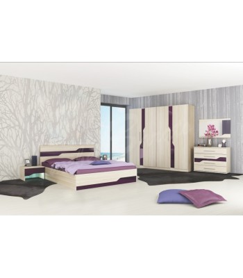 Спален комплект Виена пясъчен дъб + мдф лилаво огледално гланц