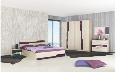 Спален комплект Виена пясъчен дъб + мдф лилаво огледално гланц - Спални комплекти