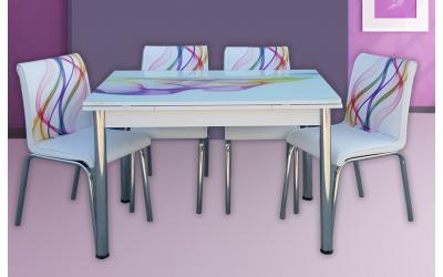 Комплект маса+ 4 стола Nora 1 - Трапезни маси